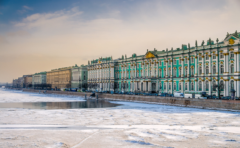 View of Saint Petersburg during winter from the banks of the Neva river.