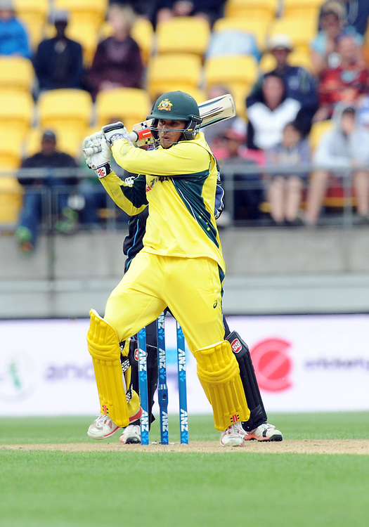 Australia's Usman Khawaja smashes a boundary against New Zealand in the 2nd One Day International Cricket match at Westpac Stadium, Wellington, New Zealand, Saturday, February 06, 2016. Credit:SNPA / Ross Setford