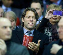 LIVERPOOL, ENGLAND - Tuesday, March 13, 2012: Comedian John Bishop in the stands before the Premiership match between Liverpool and Everton at Anfield. (Pic by David Rawcliffe/Propaganda)