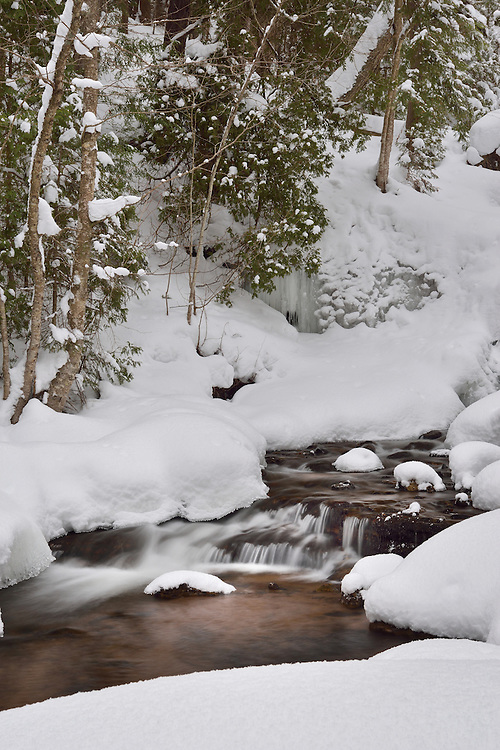 A winter scene in Michigan's Upper Peninsula after a fresh blanket of snow.