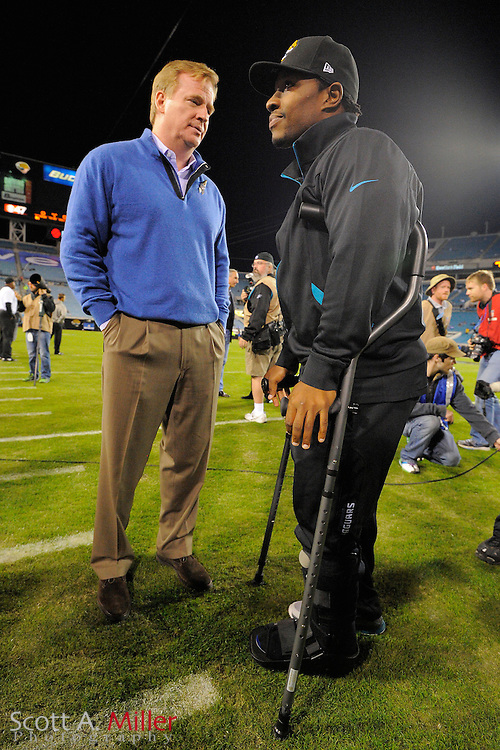 NFL Commissioner Roger Goodell talks with Jacksonville Jaguars running back Maurice Jones-Drew (32) prior to an  NFL football game between the Jacksonville Jaguars and the Indianapolis Colts at EverBank Field on November 8, 2012 in Jacksonville, Florida.  The Colts won 27-10. .©2012 Scott A. Miller..