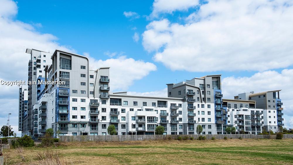 Large modern apartment blocks at Western Harbour in Leith, Edinburgh, Scotland, UK