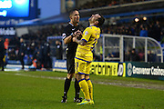 Referee James Adcock has words with Sheffield Wednesday midfielder Ross Wallace (33) during the Sky Bet Championship match between Birmingham City and Sheffield Wednesday at St Andrews, Birmingham, England on 6 February 2016. Photo by Jon Hobley.