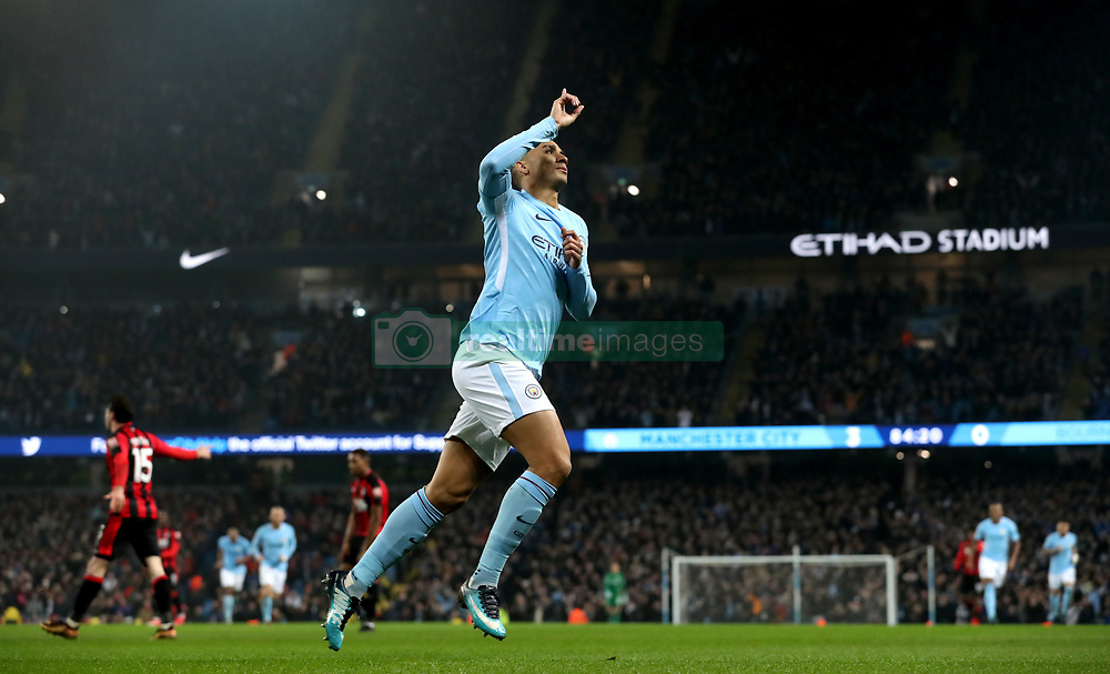 Manchester City's Danilo celebrates scoring his side's fourth goal of the game during the Premier League match at the Etihad Stadium, Manchester.