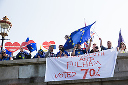 London, UK. 29th March, 2019. Remain supporters watch pro-Brexit activists from Leave Means Leave marching from Fulham to a rally in Parliament Square in Westminster on the final leg of the March to Leave on the day on which the UK was originally to have left the European Union. The March to Leave was organised by Leave Means Leave, with assistance from Nigel Farage, as a peaceful protest 'to demonstrate the depth and breadth of popular discontent with the way Brexit has been handled' by the Government.