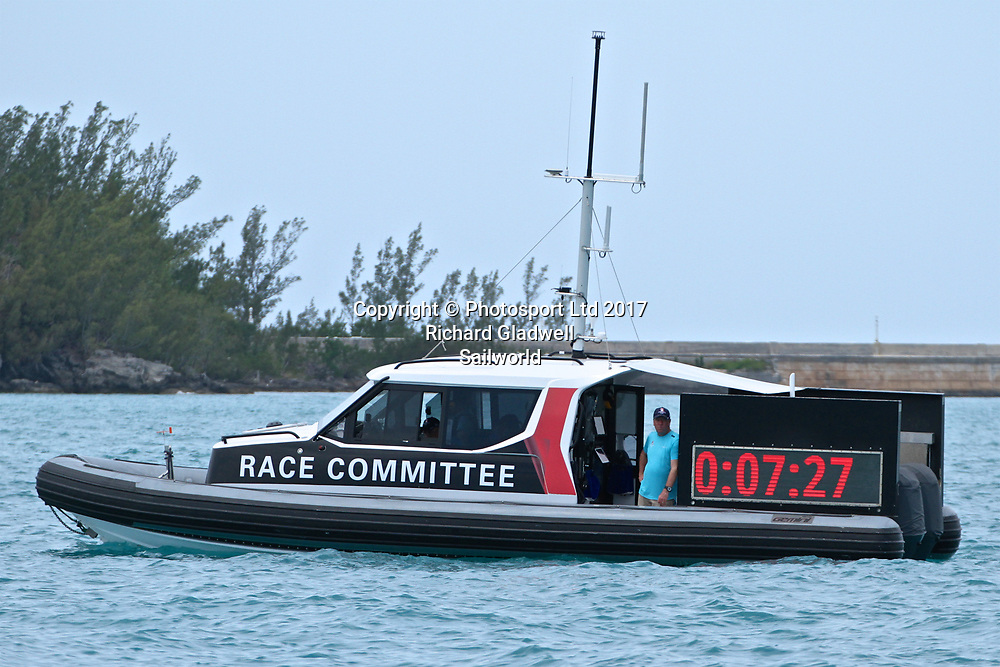 The Race Committee restarted the countdown many times due to the wind falling below the minimum for racing - Round Robin 2 - America's Cup 2017, June 1, 2017 Great Sound Bermuda<br /> Copyright photo: Richard Gladwell / www.photosport.nz<br /> For editorial news use only NO AGENTS