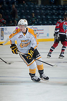 KELOWNA, CANADA - OCTOBER 25: Jesse Gabrielle #12 of Brandon Wheat Kings warms up against the Kelowna Rockets on October 25, 2014 at Prospera Place in Kelowna, British Columbia, Canada.  (Photo by Marissa Baecker/Getty Images)  *** Local Caption *** Jesse Gabrielle;