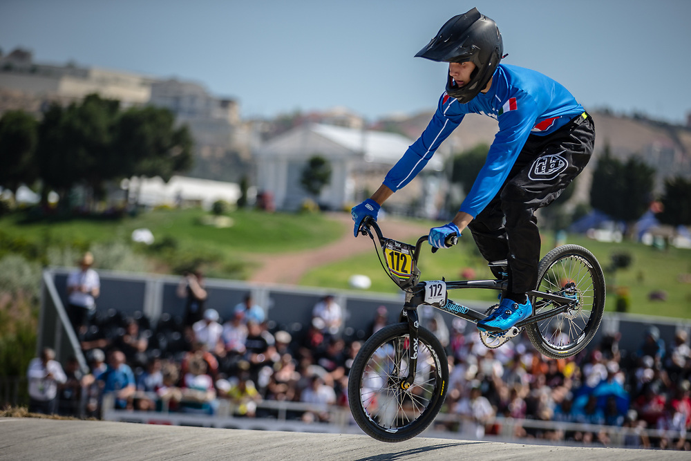 15 Boys #172 (TUGNOLO Matteo) ITA at the 2018 UCI BMX World Championships in Baku, Azerbaijan.