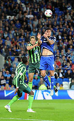 Paul Robinson of AFC Wimbledon and Sean Morrison of Cardiff City compete for a high ball - Mandatory by-line: Paul Knight/JMP - Mobile: 07966 386802 - 11/08/2015 -  FOOTBALL - Cardiff City Stadium - Cardiff, Wales -  Cardiff City v AFC Wimbledon - Capital One Cup