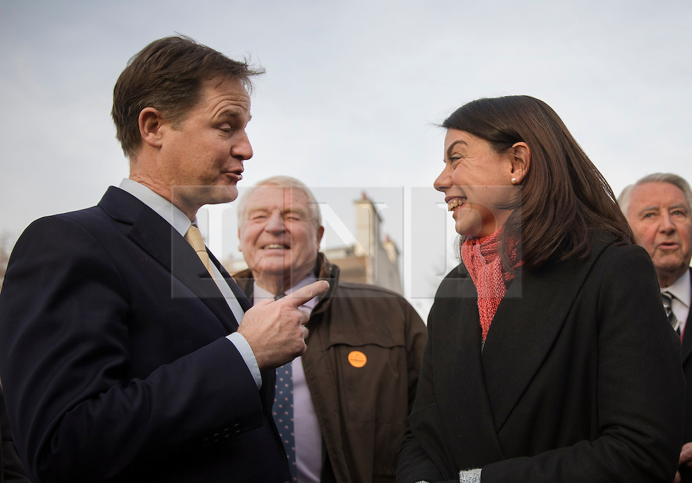 © Licensed to London News Pictures. 05/12/2016. London, UK. Newly elected Lib Dem MP for Richmond Park Sarah Olney stands with former party leaders (L-R) Nick Clegg, Paddy Ashdown and David Steel near Parliament. Photo credit: Peter Macdiarmid/LNP