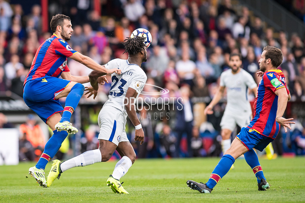 Chelsea (23) Michy Batshuayi, Crystal Palace #4 Luka Milivojević, Crystal Palace #7 Yohan Cabaye during the Premier League match between Crystal Palace and Chelsea at Selhurst Park, London, England on 14 October 2017. Photo by Sebastian Frej.
