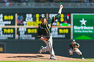 Sean Doolittle #62 of the Oakland Athletics pitches against the Minnesota Twins on April 9, 2014 at Target Field in Minneapolis, Minnesota.  The Athletics defeated the Twins 7 to 4.  Photo by Ben Krause