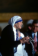 Mother Teresa, founder of the Missions of Charity order speaks after receiving the Congressional Medal of Honor during a ceremony in the U.S. Capitol May 6, 1997 in Washington, DC.