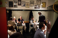 ROME, ITALY - 6 January 2014: Customers have dinner at Primo al Pigneto restaurant, opened by Chef Marco Gallotta in 2006 in the Pigneto neighborhood of Rome, Italy, on February 6th 2014.