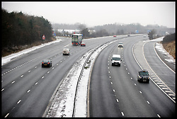 An Empty M11 as the Snow falls in Essex, Friday January 18, 2013. Photo: Andrew Parsons / i-Images