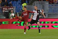 May 12, 2019 - Rome, Italy - Giorgio Chiellini and Justin Kluivert during the Italian Serie A football match between A.S. Roma and Juventus at the Olympic Stadium in Rome, on may 12, 2019. (Credit Image: © Silvia Lore/NurPhoto via ZUMA Press)