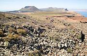 Mount Corona volcano and Ye village coastal landscape, Haria, Lanzarote, Canary Islands, Spain