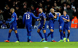 Wilfred Ndidi of Leicester City celebrates with teammates after scoring a goal to make it 2-1 - Mandatory by-line: Robbie Stephenson/JMP - 08/02/2017 - FOOTBALL - King Power Stadium - Leicester, England - Leicester City v Derby County - Emirates FA Cup fourth round replay