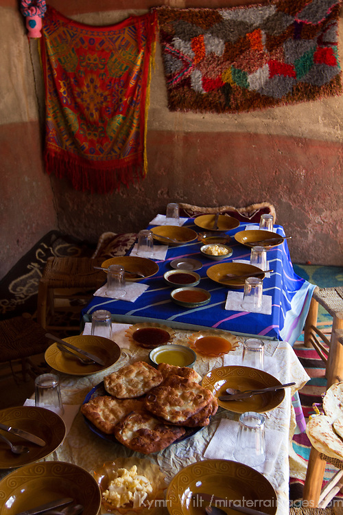 Africa, Morocco, Imlil. Berber Home table with Berber bread and jams.