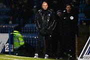 Gillingham manager Steve Lovell in the rain during the EFL Sky Bet League 1 match between Gillingham and Wycombe Wanderers at the MEMS Priestfield Stadium, Gillingham, England on 15 December 2018.