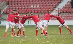 WREXHAM, WALES - Thursday, November 10, 2016: Wales players warm up before their match against Greece in the UEFA European Under-19 Championship Qualifying Round Group 6 match at the Racecourse Ground. (Pic by Gavin Trafford/Propaganda)
