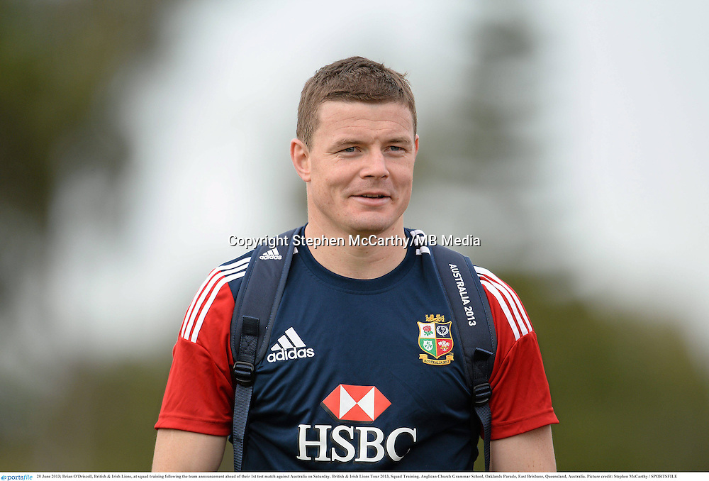 20 June 2013; Brian O'Driscoll, British & Irish Lions, at squad training following the team announcement ahead of their 1st test match against Australia on Saturday. British & Irish Lions Tour 2013, Squad Training. Anglican Church Grammar School, Oaklands Parade, East Brisbane, Queensland, Australia. Picture credit: Stephen McCarthy / SPORTSFILE
