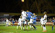 Paul Kalambayi goes close with the header during the FA Youth Cup match between U18 AFC Wimbledon and U18 Chelsea at the Cherry Red Records Stadium, Kingston, England on 9 February 2016. Photo by Michael Hulf.