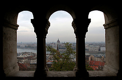 HUNGARY BUDAPEST 19NOV04 - Budapest's Fishermen's Bastion (Halaszbastya) on Castle Hill overlooking the Danube and Pest...jre/Photo by Jiri Rezac..© Jiri Rezac 2004..Contact: +44 (0) 7050 110 417.Mobile:  +44 (0) 7801 337 683.Office:  +44 (0) 20 8968 9635..Email:   jiri@jirirezac.com.Web:     www.jirirezac.com..© All images Jiri Rezac 2004 - All rights reserved.