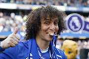 Chelsea Defender David Luiz (30) celebrates with his winners medal during the Premier League match between Chelsea and Sunderland at Stamford Bridge, London, England on 21 May 2017. Photo by Andy Walter.