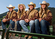 NEWS&amp;GUIDE PHOTO / PRICE CHAMBERS<br /> From left, AJ Fuchs, Tayler Holmes, Jake Mangis and Shyann Lucas are this year's buckle winners at the high school rodeo.