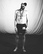 2 33 Rob Krar 36 08:22pm / 15:22:05<br /> Finish line portraits, WS100. June 29-30, 2013. Placer HS, Auburn CA.