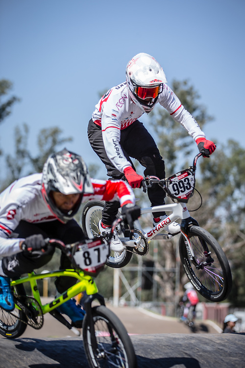 #993 (NAGASAKO Yoshitaku) JPN at round 8 of the 2018 UCI BMX Supercross World Cup in Santiago del Estero, Argentina.