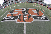The Cincinnati Bengals logo is painted on the field before the 2017 NFL week 8 regular season football game against the Indianapolis Colts, Sunday, Oct. 29, 2017 in Cincinnati. The Bengals won the game 24-23. (©Paul Anthony Spinelli)