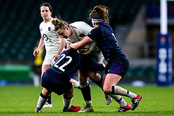 Sarah McKenna of England Women is tackled by Lisa Martin of Scotland Women - Mandatory by-line: Robbie Stephenson/JMP - 16/03/2019 - RUGBY - Twickenham Stadium - London, England - England Women v Scotland Women - Women's Six Nations