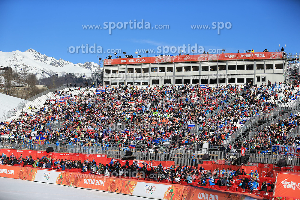 12.02.2014, Rosa Khutor Alpine Center, Krasnaya Polyana, RUS, Sochi, 2014, Abfahrt, Damen, Flower Ceremonie, im Bild die Haupttrib&uuml;ne // the grandstand during the ladies downhill Flower Ceremony to the Olympic Winter Games 'Sochi 2014' at the Rosa Khutor Alpine Resort, Krasnaya Polyana, Russia on 2014/02/12. EXPA Pictures &copy; 2014, PhotoCredit: EXPA/ Stefan Matzke <br /> <br /> *****ATTENTION - OUT of GER*****
