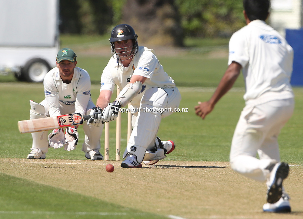 Wellington's Mark Gillespie bats in the Plunket Shield cricket match between the Central Districts Stags and the Wellington Firebirds at Nelson Park, Napier,  New Zealand. Tuesday, 30 October, 2012. Photo: John Cowpland / photosport.co.nz