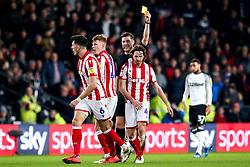 Joe Allen of Stoke City is shown a yellow card - Mandatory by-line: Robbie Stephenson/JMP - 31/01/2020 - FOOTBALL - Pride Park Stadium - Derby, England - Derby County v Stoke City - Sky Bet Championship