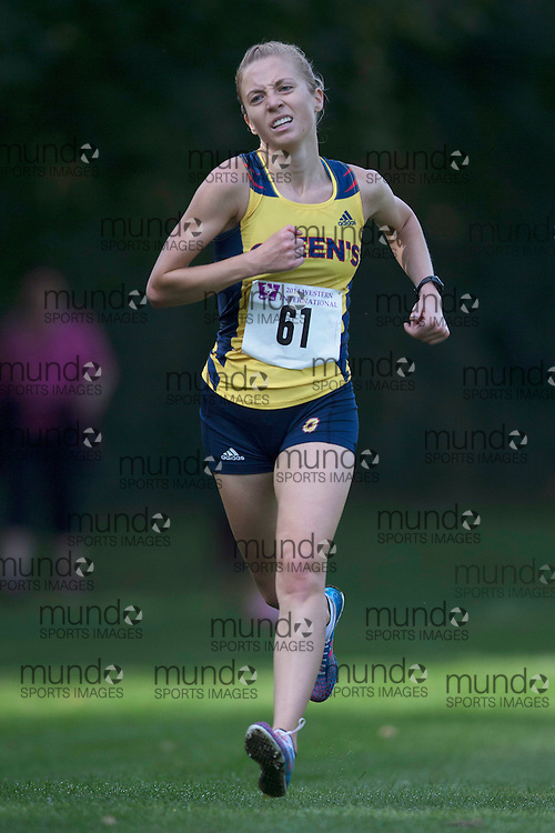 Emma Plater of the Queen'S Gaels runs at the 2014 Western International Cross country meet in London Ontario, Saturday,  September 20, 2014.<br /> Mundo Sport Images/ Geoff Robins