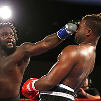 Jordan Sanders lands a left jab to the nose of Joseph White during a Fire Fist Boxing Promotions boxing match at the A La Carte Pavilion on Saturday, August 12 , 2017 in Tampa, Florida.  (Alex Menendez via AP)