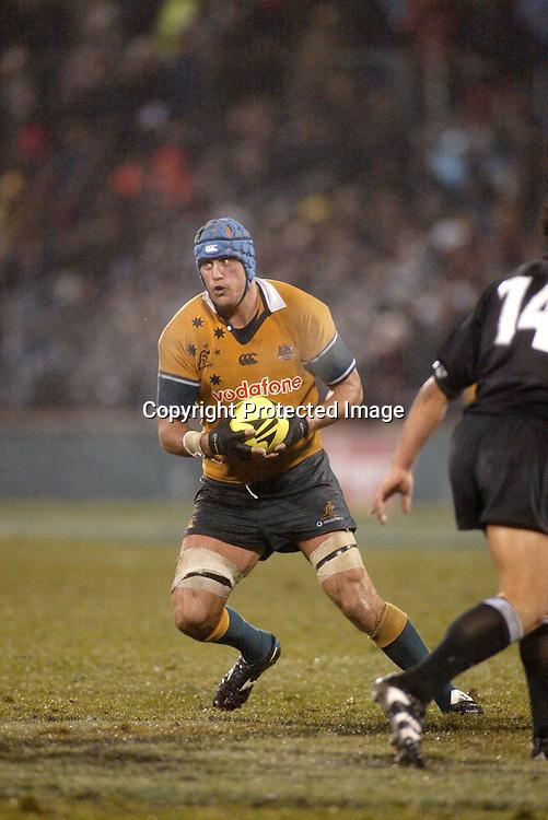 13th July 2002, Jade Stadium, Christchurch, New Zealand.<br />Rugby Union, Tri-Nations/Bledsiloe Cup: All Blacks v <br />Australia.<br />Nathan Sharpe.<br />New Zealand won 12-6.<br />Pic: Sandra Teddy/Photosport