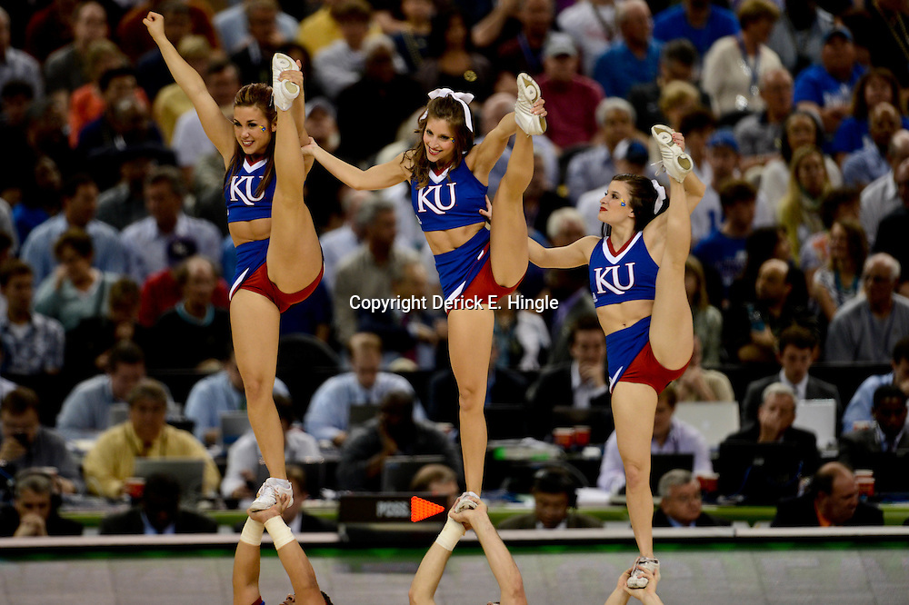 Apr 2, 2012; New Orleans, LA, USA; Kansas Jayhawks cheerleaders perform during the second half of the finals of the 2012 NCAA men's basketball Final Four against the Kentucky Wildcats at the Mercedes-Benz Superdome. Mandatory Credit: Derick E. Hingle-US PRESSWIRE