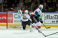 KELOWNA, CANADA - JANUARY 19: Roman Basran #30 of the Kelowna Rockets makes a save against the Prince Albert Raiders  on January 19, 2019 at Prospera Place in Kelowna, British Columbia, Canada.  (Photo by Marissa Baecker/Shoot the Breeze)