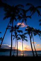 Sunset, Haleiwa Beach,  north shore of Oahu, Hawaii