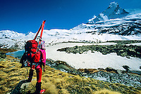 Walking to Schoenbiel Hut (Matterhorn in background), Haute Route, Switzerland