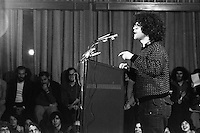 1976, Cambridge, Massachusetts, USA --- Comedy writer Al Franken speaks at a rally for Democratic presidential candidate Morris Udall during Udall's campaign for the 1976 Massachusetts Democratic presidential primary. --- Image by © Owen Franken/Corbis