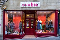Cookie fashion clothing shop on Cockburn Street in Edinburgh Old Town, Scotland, United Kingdom