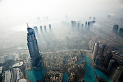 View over Downtown Dubai from the observation deck At The Top, in Burj Khalifa, the world's tallest building