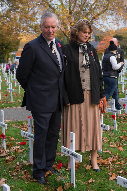 Lord Prior of St John Lieutenant Colonel Sir Malcolm Ross with Lady Susan Ross in Cranmer Square at the ANZAC Day Dawn Service Christchurch, New Zealand, Tuesday, April 25, 2017. Credit:  SNPA / David Alexander