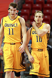 05 November 2016:   Robby Dosier and Grant Meyer during an NCAA  mens basketball game where the Quincy Hawks lost to the Illinois State Redbirds in an exhibition game at Redbird Arena, Normal IL
