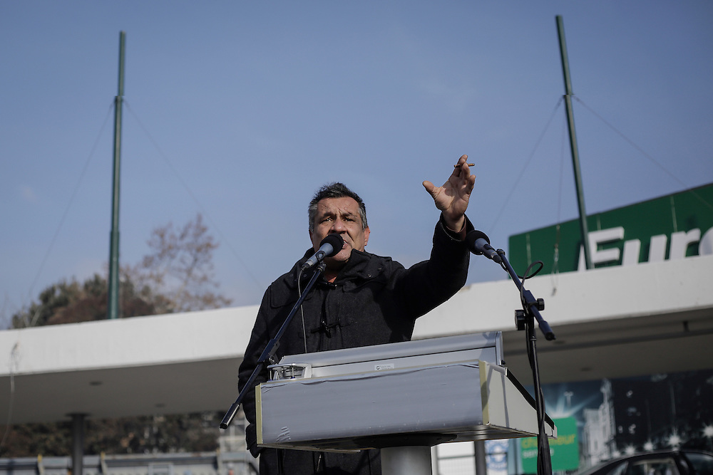 A farmer give speech during a march inside the city of Thessaloniki, Greece, on the 2nd of February 2017. Farmers from around northern Greece gathered in Thessaloniki during the opening of the Zootechnia international livestock to demonstrate against the austerity measures put by the Greek government.